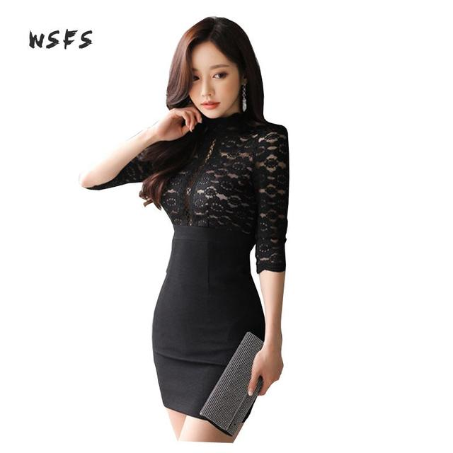 49865a604f US $19.95 38% OFF|Summer Black Lace Dresses Oneck Half Sleeve See Through  Women Dress Office Lady Sexy Party Vintage Bandage Bodycon Mini Dress-in ...