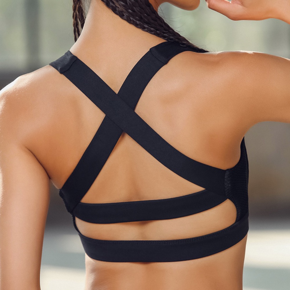 Ef132 Cross Over Back Mesh Panel Sports Bra Yoga Top Women