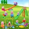Розовая свинья парк развлечений играть дома игрушки animial свинья мини фигурки членов семьи играть качели игры для детей подарок