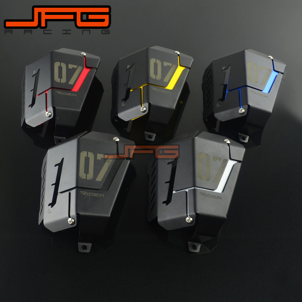 Aluminum Radiator Side Water Coolant Resevoir Protector Guard Cover For Yamaha MT07 MT-07 FZ07 FZ-07 2013 2014 2015 2016 2017 new black motorcycle radiator grille guard cover protector for yamaha mt07 mt 07 mt 07 2014 2015 2016 free shipping