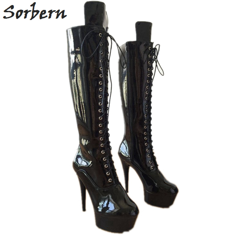 Cm Sorbern Rodilla De Negro Bling Goth Otoño Mujer Alto Plataforma Punk Encaje Moda multiple Hasta Tacón Zapatos Botas 15 TW1WZnPx