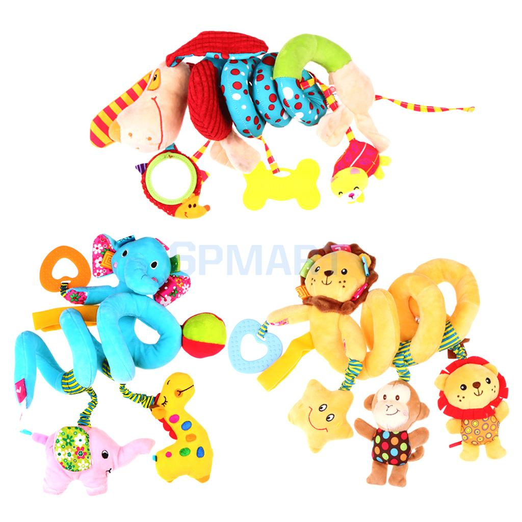 3 Pieces Baby Kid Plush Cartoon Toys Teether Bed Stroller Hanging Bell Toy