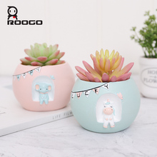 Roogo Decorative Flower Pots For Succulents Plant Pot Wedding Decoration Home Balcony Orchid Flowerpots Decorations