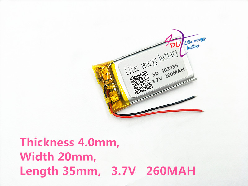 402035 3.7V 260mAh 042035 Lithium Polymer Li-Po li ion Rechargeable Battery cells For Mp3 MP4 MP5 GPS mobile tablet battery 3 7v 300mah battery 402530 lithium polymer li po li ion rechargeable battery for mp3 mp4 mp5 gps psp mobile electronic part