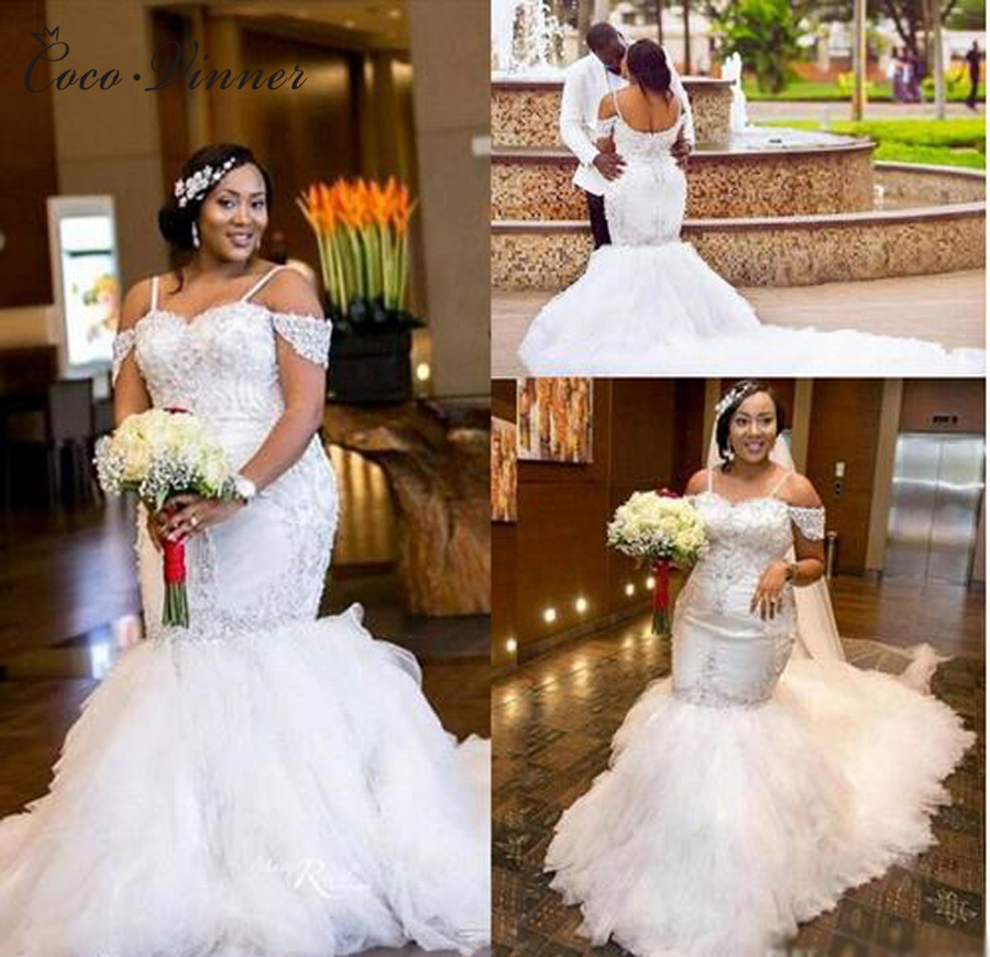 African Sequin Lace Vintage Mermaid Wedding Dresses 2020 Long Train Puff Skirt Crystal Beads Plus Size Bridal Gowns W0215