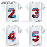 Boys and Girls Spiderman Avengers Letter Bow Print T shirt Baby Cartoon T-shirt,Kids Number 1-9 Birthday Present Clothes,ooo2429