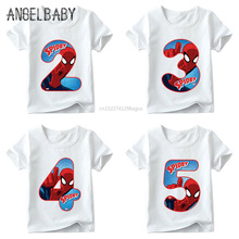 Boys and Girls Spiderman Avengers Letter Bow Print T shirt Baby Cartoon T-shirt,Kids Number 1-9 Birthday Present Clothes,ooo2429 недорого