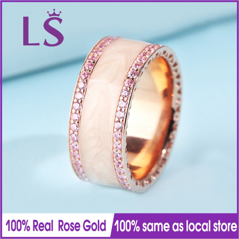 LS Hot Sale Rose Gold Cream Enamel Pink Cubic Ring,Wedding Rings for Women.Compatible With Original Jewelry.Fashion Lady Jewelry new pure au750 rose gold love ring lucky cute letter ring 1 13 1 23g hot sale