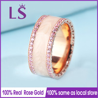 LS Hot Sale Rose Gold Cream Enamel Pink Cubic Ring,Wedding Rings for Women.Compatible With Original Jewelry.Fashion Lady Jewelry