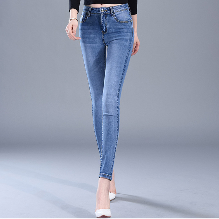 High waist   jeans   women Stretch pencil Korean button washed skinny pencil pants femme 2019 Casual spring Autumn famale Clothes