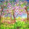 """Mão Rolou Hem Lenço De Seda Quadrado Mulheres Cappa Xailes & Wraps Artes Pintura A Óleo de Claude Monet """"Printemps um Giverny"""""""