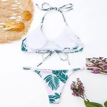 Enchanting Women Bikini Set Swimwear Push-Up Padded Leaves Print Bra Swimsuit Beachwear Women's Swimsuits Sexy Cross Swimwears