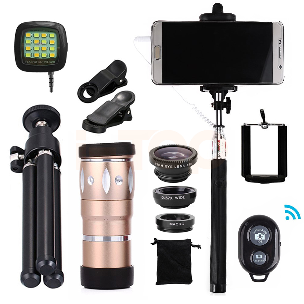 All in 1 10x Zoom Telephoto Lens Fisheye Wide Angle Macro Lenses Microscope For Xiaomi mi6 Cell Phone With Mobile Tripod Clip