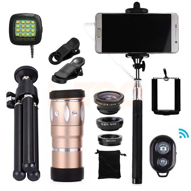 Todo en 1 10x Zoom Telefoto Lente ojo de Pez de Gran Angular Macro lentes de microscopio para xiaomi huawei teléfono celular con pinza trípode móvil