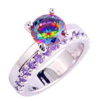 Pretty and Colorful Round Cut Rainbow Topaz & Amethyst Jewelry 925 Silver Ring Size 6 7 8 9 10 11 12 Wholesale Free Shipping