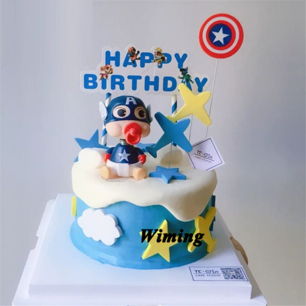 Outstanding Captain America Birthday Cake Topper Birthday Party Supplies Funny Birthday Cards Online Alyptdamsfinfo