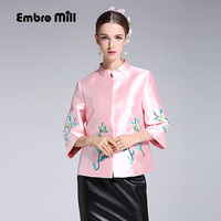 High quality plus size womens tops autumn royal emboroidered short coat mandarin collar 3/4 sleeve baseball jacket female S-XXL