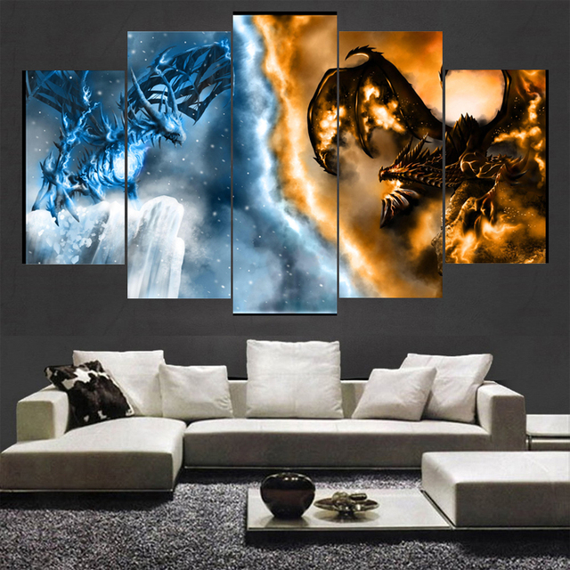Malowanie Klatek Sztuki Plakat Obraz 5 Panel Warcraft Gry Home Decor