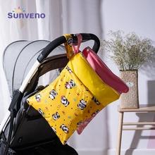 Sunveno водонепроницаемый многоразовый влажный мешок напечатанные карманные сумки для подгузников дорожные влажные сухие сумки Размер 28x36 см сумка для подгузников