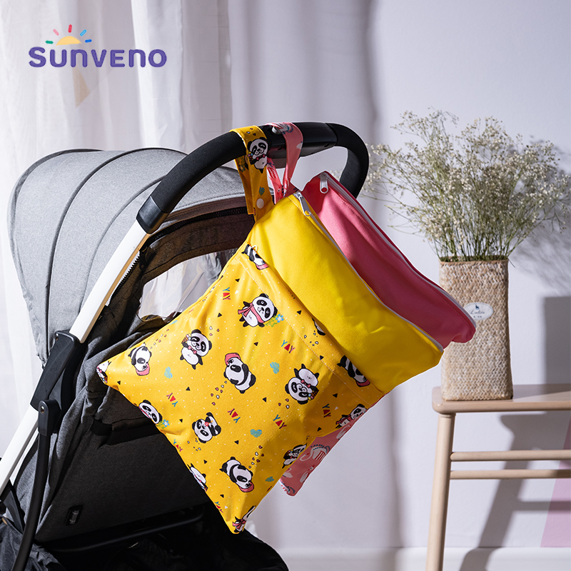 Sunveno Waterproof Reusable Wet Bag Printed Pocket Nappy Bags Travel Wet Dry Bags Size 28x36cm Diaper Bag