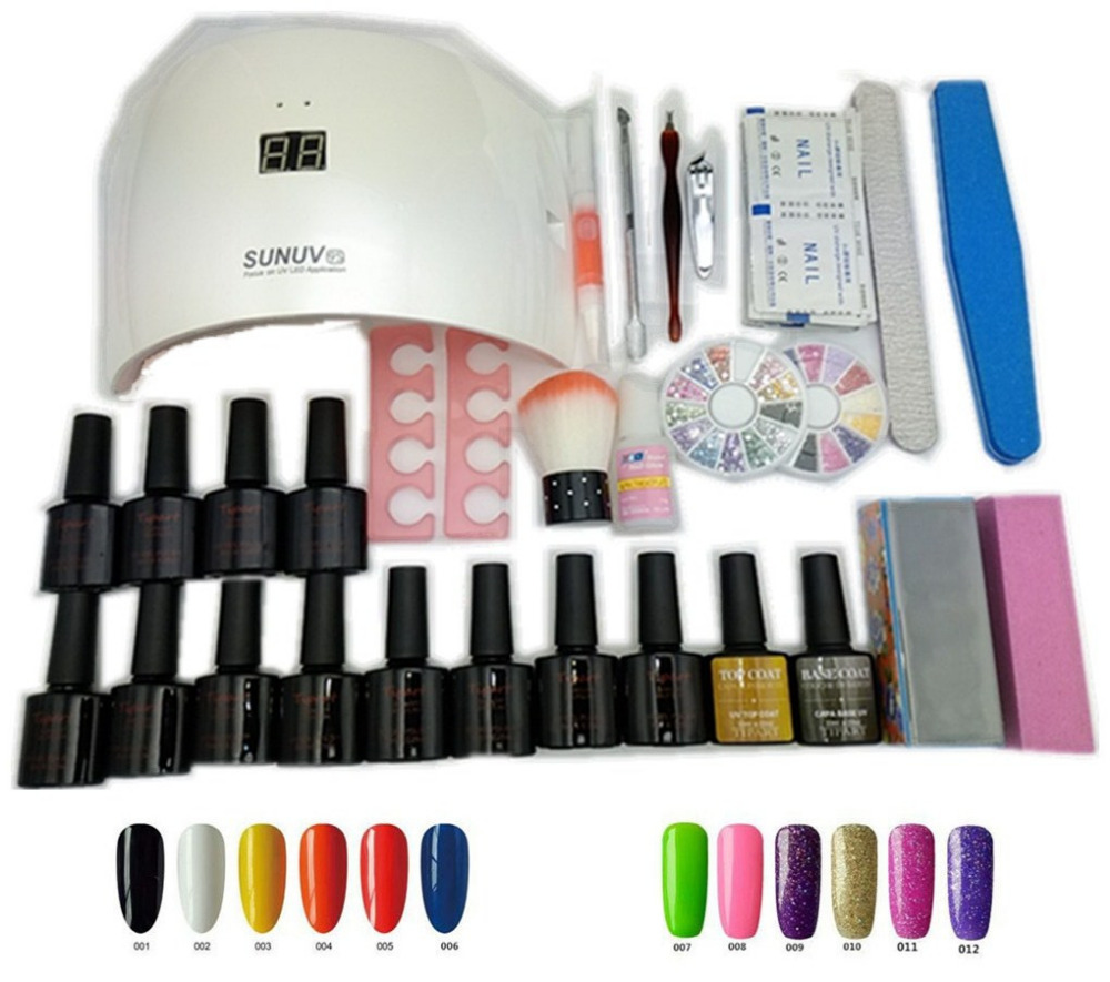 12 Colors Top and base coat uv gel polish 24w SUN9S uv led lamp manicure uv gel nail art diy nail tools sets kits nail gel kit nail art manicure tools set uv lamp 10 bottle soak off gel nail base gel top coat polish nail art manicure sets