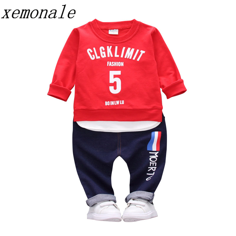 2018 Fashion Children Boys Girls Clothes Autumn Kids T-shirt Pants 2Pcs Sets Baby Active Clothing Suits Toddler Tracksuits malayu baby kids clothing sets baby boys girls cartoon elephant cotton set autumn children clothes child t shirt pants suit