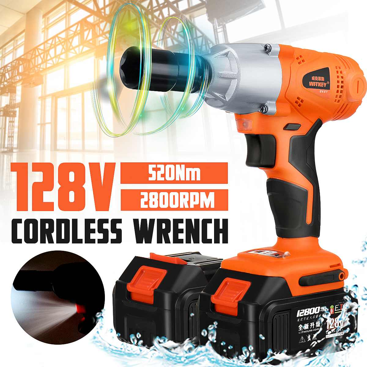Cordless Impact Wrench 1/2 Inch Driver 520Nm 12800mah Dual Li-ion Battery LED Light