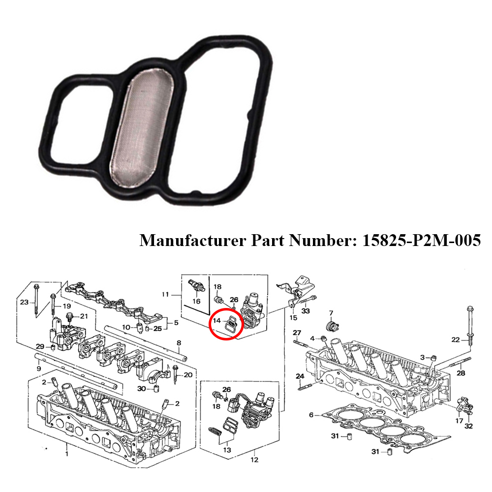 JEAZEA 15825-P2M-005 15825P2M005 Variable Timing Spool Solenoid Valve Filter Gasket For Honda Civic