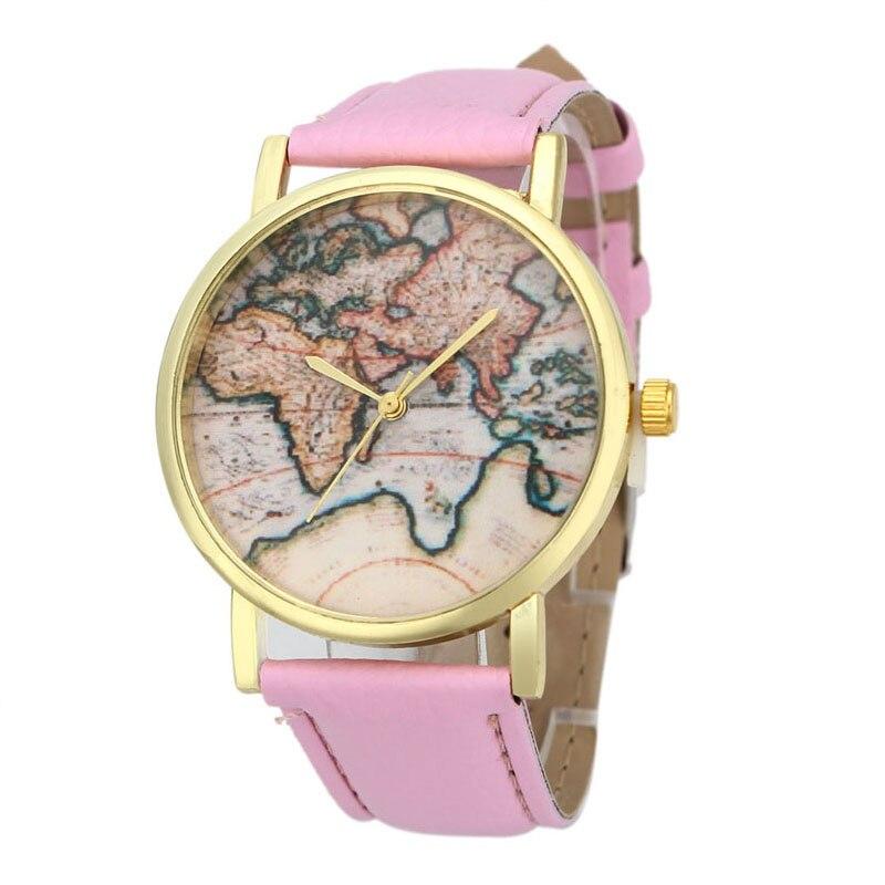 Mapa do mundo superior da terra do vintage assistir liga mulheres relógios de pulso de quartzo analógico 12 de setembro