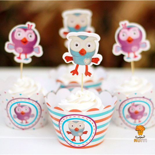 48pcs Giggle And Hoot Owl Cupcake Wrappers Toppers Decoration Kids