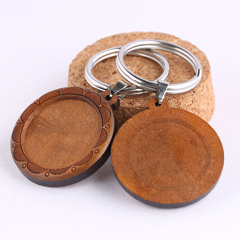 Onwear 3pcs Fit 25mm Round Cabochon Wood Keychain Settings Diy Blank Wooden Key Chain Base Trays Metal Stainless Steel Keyring