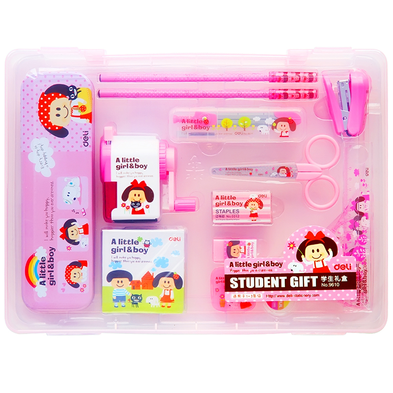1 Pack 16Pcs Cute Kids Stationery Set Cartoon Design Child School Supplies Boy And Girl Pencil Case 2 Colors Deli 96101 Pack 16Pcs Cute Kids Stationery Set Cartoon Design Child School Supplies Boy And Girl Pencil Case 2 Colors Deli 9610