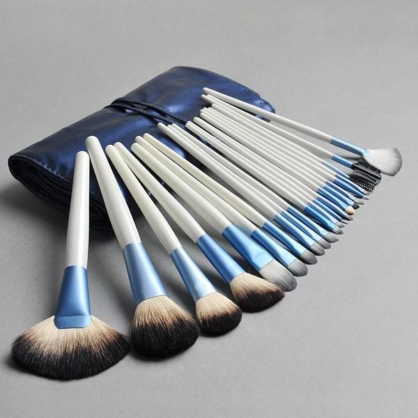 22 unids Bastante Blanco Mango De Madera Cosmética Profesional Compone el Cepillo Del Maquillaje Kit de Herramientas Con Estuche De Cuero Azul Envío Gratis