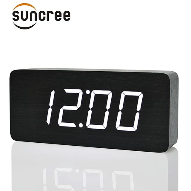 39f54132d68 Suncree Grandes Números de Madeira LED Relógios Digitais