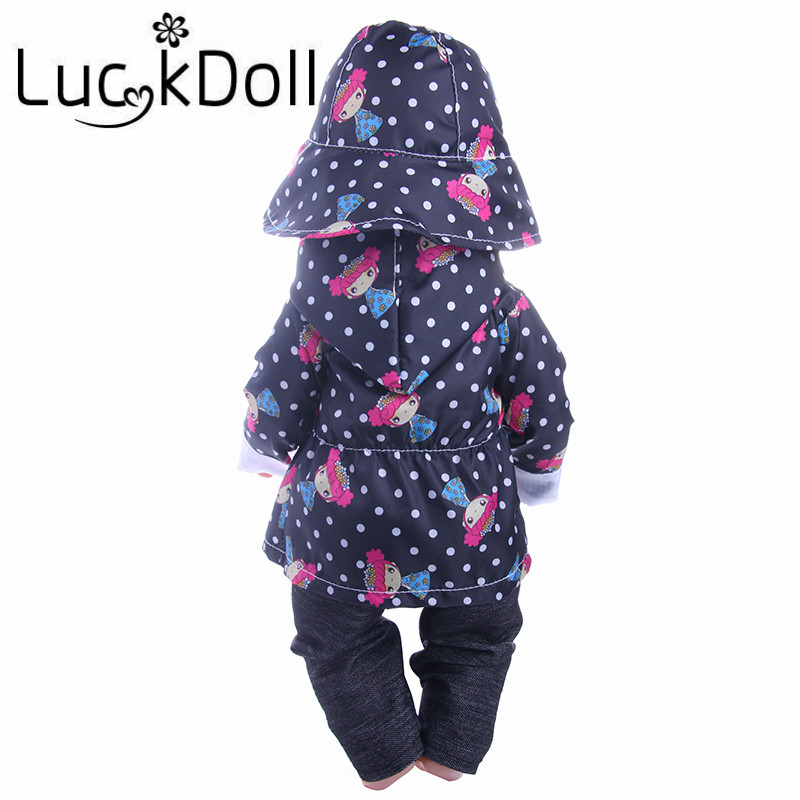 Image 4 - Cute Pattern Casual Raincoat 3Pcs=Hat+Coat+Pants Fit 18 Inch American&43 CM Baby Doll Clothes Accessories,Girl's Toys,Generation-in Dolls Accessories from Toys & Hobbies