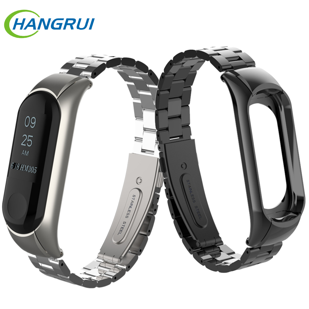 Wrist-Strap Mi-Band Smart-Bracelet Metal Stainless-Steel 3-Belt Xiaomi Replaceable
