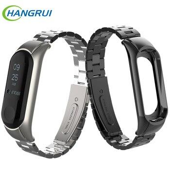 Stainless steel wrist strap for xiaomi mi band 3 4 metal watch band smart bracelet miband 3 belt replaceable watch straps mi 3