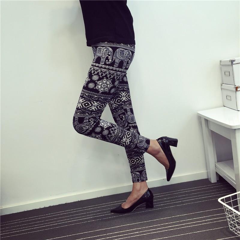 BIVIGAOS Spring Summer Womens Fashion Black Milk Thin Stretch leggings Colored Stars Graffiti Slim Skinny Leggings Pants Female 52
