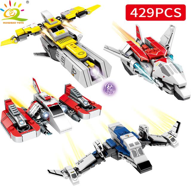 HUIQIBAO 429PCS 4in2 Cosmic Altman UItraman Spacecraft Building Blocks Spacecraft Bricks Educational Toy for Children