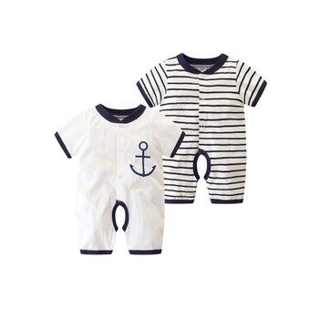 5f0aee087 2019 verano bebé niño mameluco de algodón de manga corta mono infantil de  dibujos animados impreso bebé niña ropa de bebé recién nacido 3 unids lote