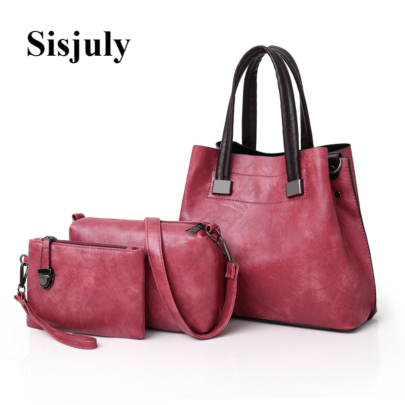 3 Pcs Fashion Women Composite Bag Large Woman Messenger Bag Female PU Leather Shoulder Bag Office Lady Three Pieces Tote Bags faux leather minimalist practical 3 pieces tote bag set page 3