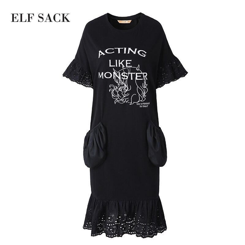 Image 5 - ELF SACK Women Oversize letnie sukienki kieszenie koronkowe długie sukienki damskie O Neck Mixi Plus Size sukienki damskie nadrukowana odzież w Suknie od Odzież damska na