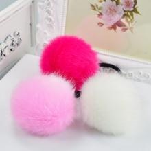 Korean Artificial Rabbit Fur Ball Elastic Hair Rope Rings Ties Bands Ponytail Holders Girls Hairband Headband Hair Accessories