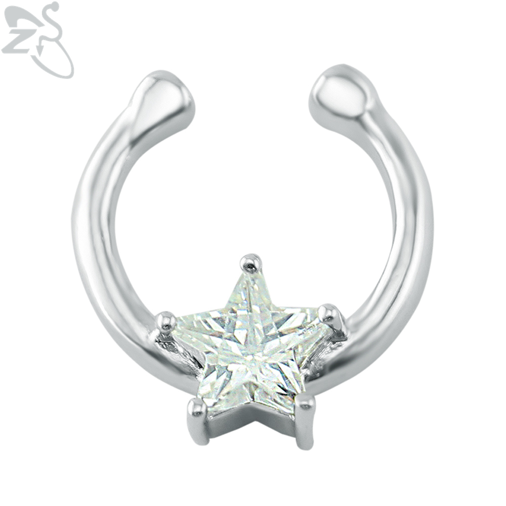 Jewelry amp watches gt fashion jewelry gt body jewelry gt body piercing - Zs Star Crystal Fake Nose Ring Clip On Stainless Steel Fake Piercing Nose Ring Septum Clicker