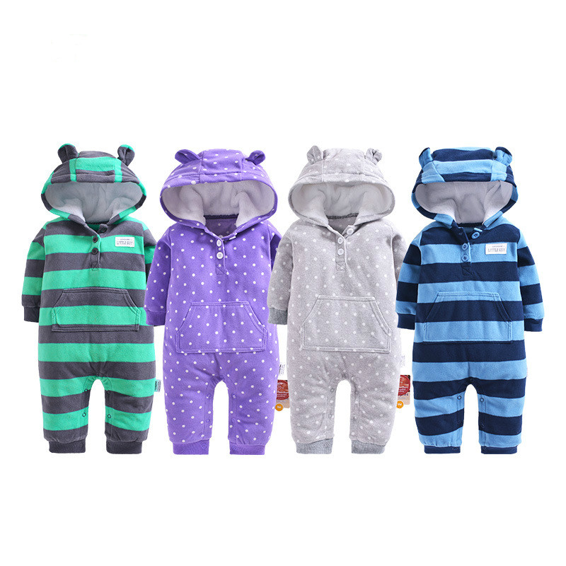 2018 spring baby clothes polar fleece hooded infants clothes coral fleece hood autumn outfit toddler boys jumpsuit blue stripe