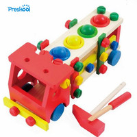 Montessori Kids Toy Wooden Toys Removable Model Screw Truck Learning Educational Preschool Training Brinquedos Juguets