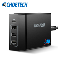 CHOETECH Mobile Phone Charger 72W 4 Port USB Type C Desktop Charger Station With Power Delivery
