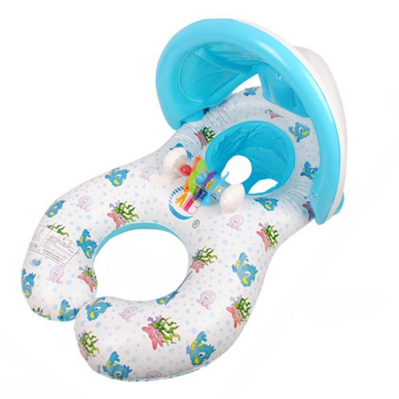 high pressure gas Mother Child Inflatable Swimming Ring Baby Float Swim Ring with Sunshade wipe the product clean and dry