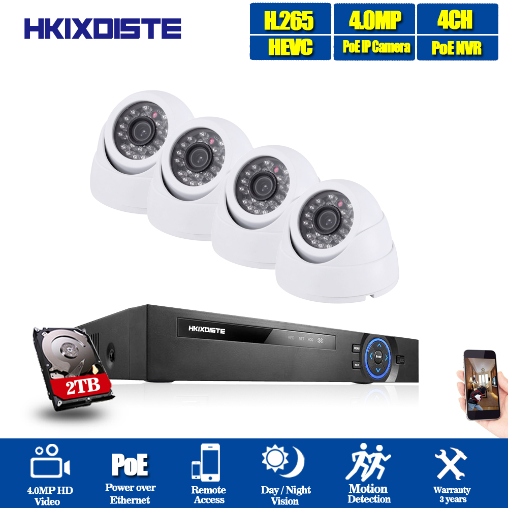 H.265 4CH système de vidéosurveillance 5MP POE NVR kit 4*4MP MINI dôme 3.6mm lentille POE IP caméra intérieure système de caméra de sécurité à domicile faible lux