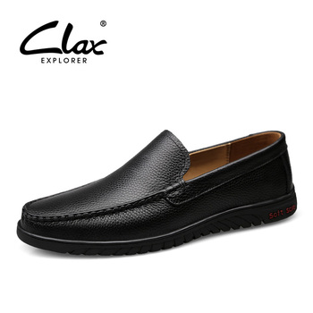 CLAX Mans Formal Shoes Slip on 2019 Summer Genuine Leather Men's Dress Shoe Black Male Office Footwear Breathable